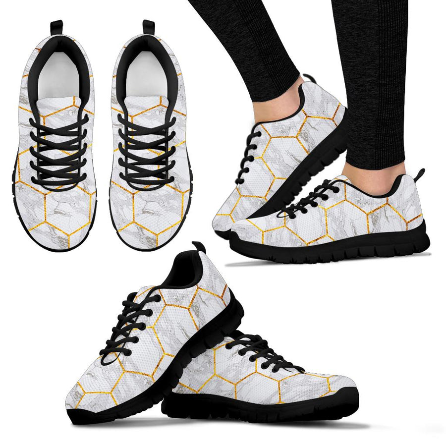White Gold Tile Marble Sneakers