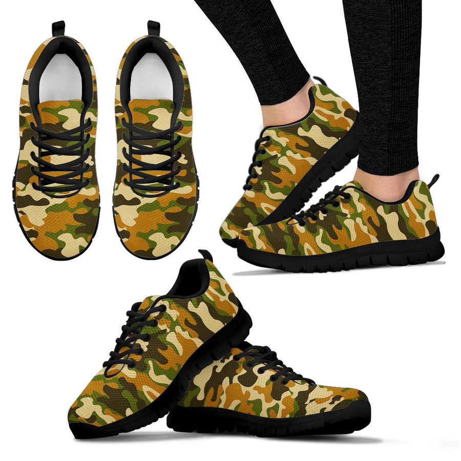 Green And Brown Camouflage Print Sneakers