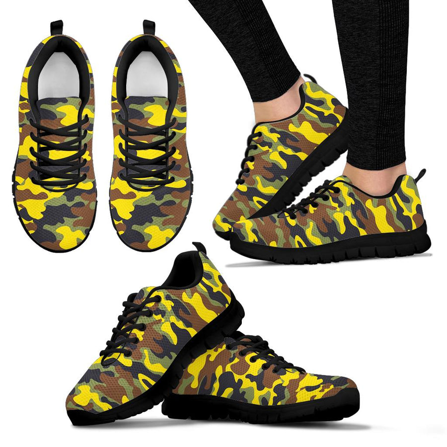 Woodland And Yellow Camo Print Sneakers