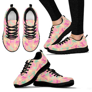 Pink Palm Tree Hawaiian Print Sneakers