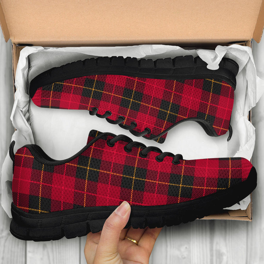 Black And Red Plaid Tartan Sneakers