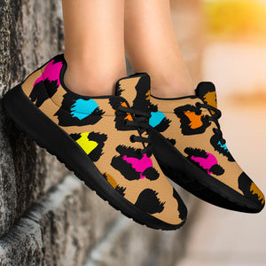 Brown Colorful Cheetah Print Running Shoes