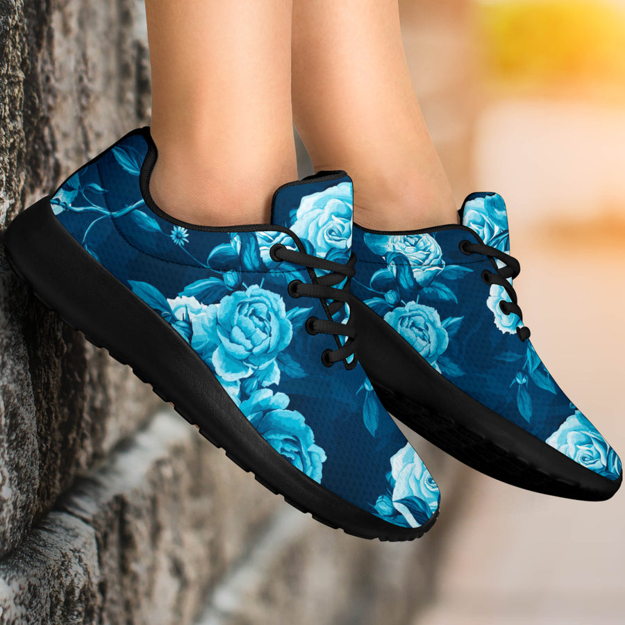 Blue Rose Floral Print Running Shoes