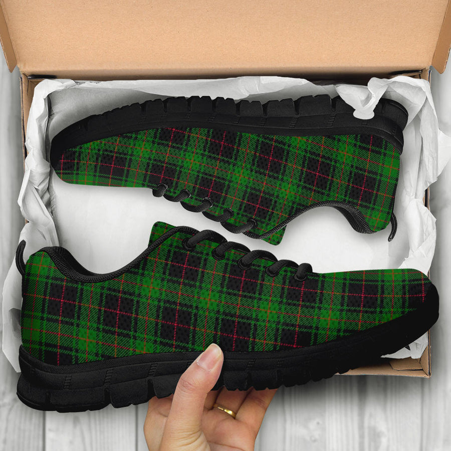 Black Green Plaid Tartan Sneakers