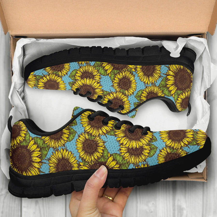 Blue Sunflower Print Sneakers