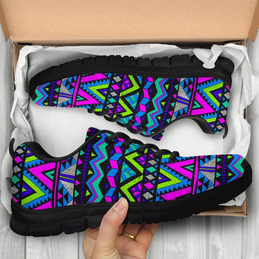 Neon Indian Aztec Doodle Sneakers