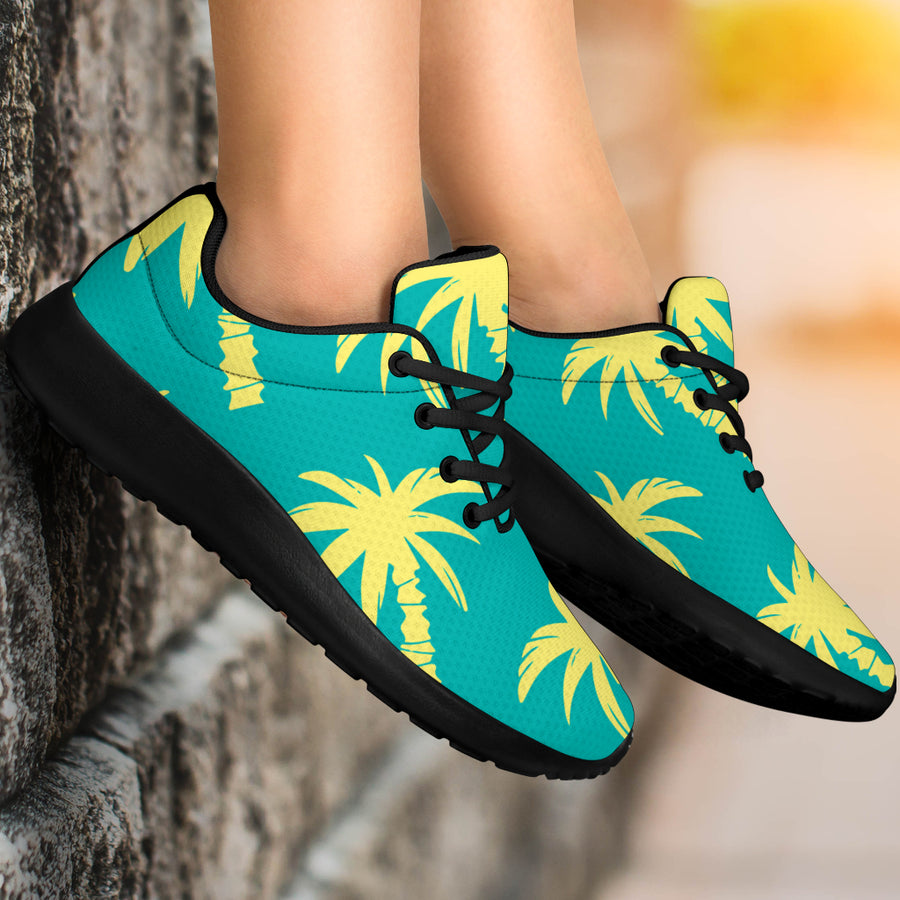 Green Palm Tree Hawaiin Print Running Shoes