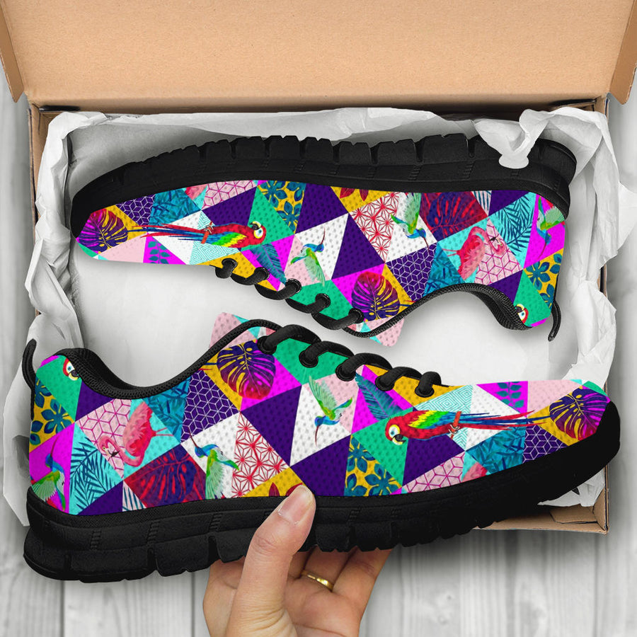 Patchwork Tropical Bird Print Sneakers