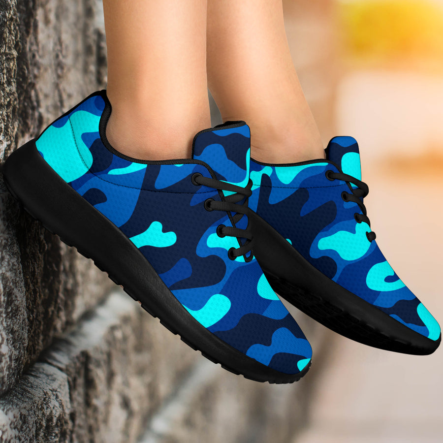 Blue Camoflage Print Running Shoes