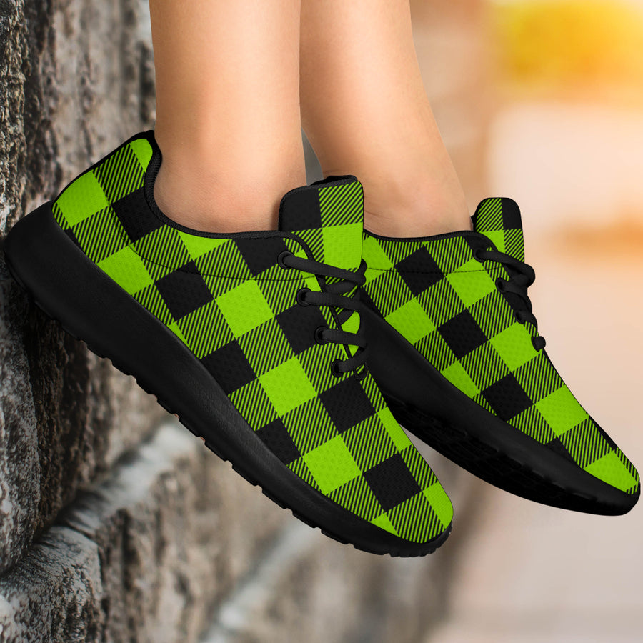Green Plaid Running Shoes