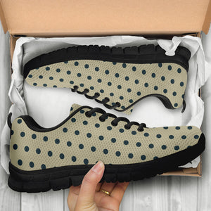 Cream And Black Polka Dot Print Sneakers