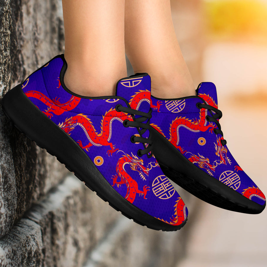 Blue Chinese Dragon Hoodie Running Shoes