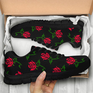 Red Doodle Rose Floral Sneakers
