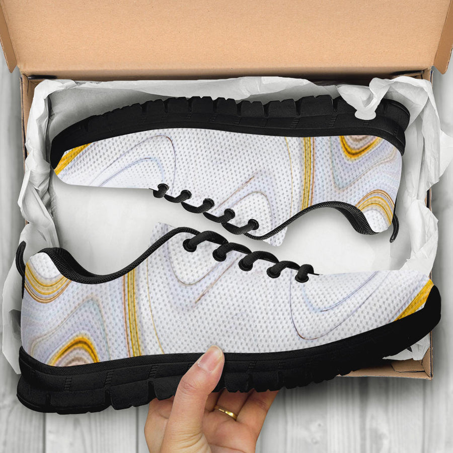 Gold White Marble Sneakers