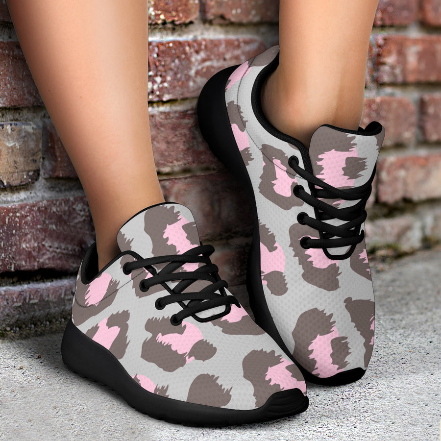 Grey and Pink Leopard Running Shoes