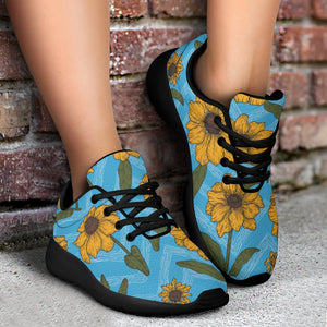 Blue Zigzag Sunflower Running Shoes