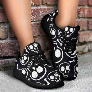 Black Cartoon Skull Running Shoes