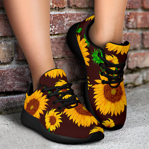 Black Sunflower Print Running Shoes