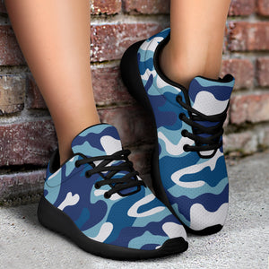 Blue Navy Camo Print Running Shoes