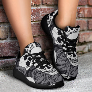 Black And White Rose Floral Skull Running Shoes
