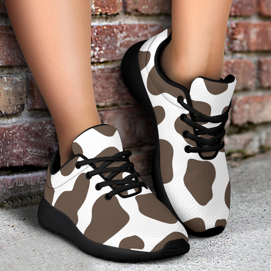 Brown And White Cow Print Running Shoes