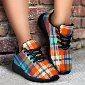 Blue Plaid Tartan Scottish Print Running Shoes
