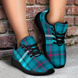 Blue Aqua Plaid Tartan Running Shoes