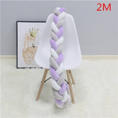 Bed Bumper Weaving Plush Infant Crib Cushion For Newborns - Labellabambino