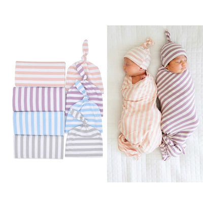 New Cotton Baby Swattle baby Wrap + Hat 2PCS - Labellabambino