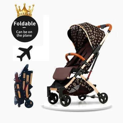 Ultra-lightweight golden baby stroller folding shock absorber children's hand push umbrella baby  stroller PU armrest - Labellabambino