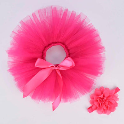 Hot pink Solid Baby Girls Fluffy Tutu Skirt & Headband - Labellabambino