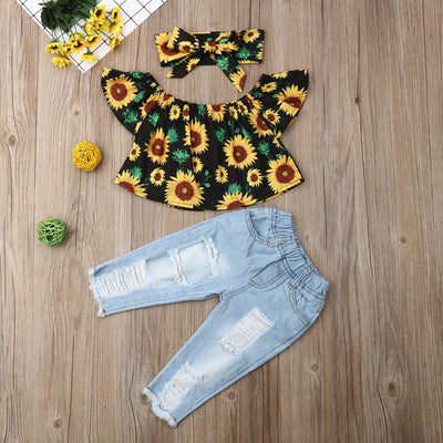 Kid Off Shoulder Sunflower Clothes - Labellabambino