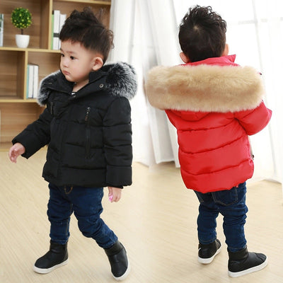 Kids Fur Thick Hooded Coats - Labellabambino