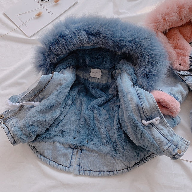Velvet Real Fur Warm Toddler Girl Outerwear Coat 1-5 Years Kids Infant Girl Parka - Labellabambino