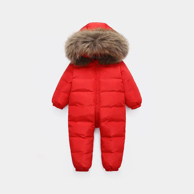 Big fur hooded baby winter jumpsuit - Labellabambino