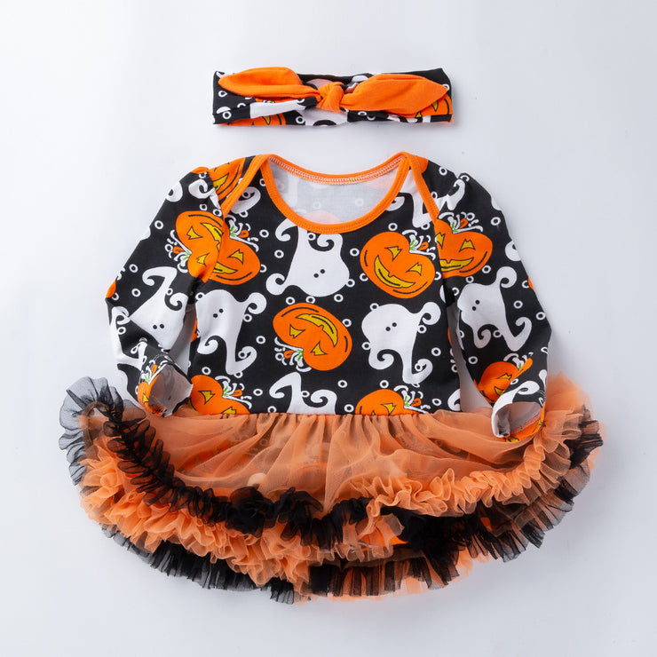 Halloween Pumpkin Bow Party Dress - Labellabambino