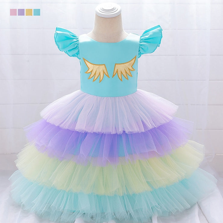 Babies with Flying Wings Tiers tutus Short Sleeves Holiday Wear - Labellabambino