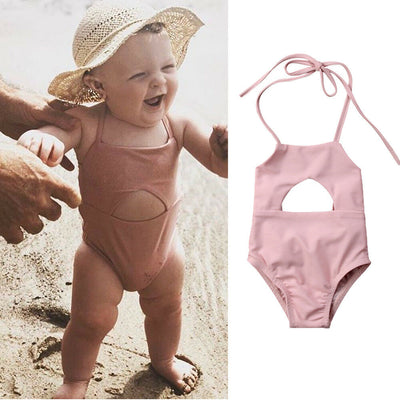 Baby Solid Lace up Sleeveless Swimsuit - Labellabambino