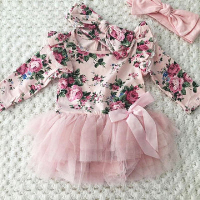 Floral fly sleeve Tutu Lace Dress - Labellabambino