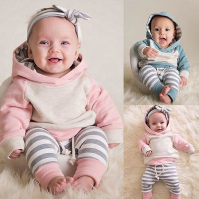 Winter Clothes Hooded Sweater Tops Set - Labellabambino