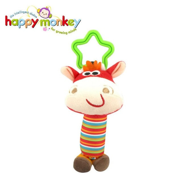 Cartoon Toys Animal Plush Hand Bell Baby Stroller - Labellabambino