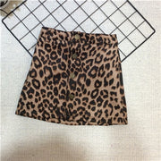 Leopard Leather Short Skirt - Labellabambino