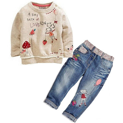 Cartoon Flower Printing Sweater + Jeans suit - Labellabambino