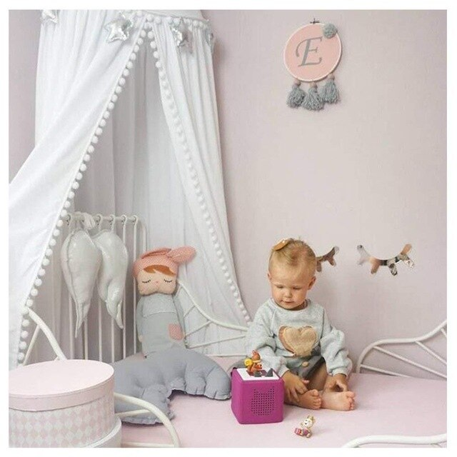 Bed Canopy with Pom Pom Hanging/Mosquito Net for Baby - Labellabambino