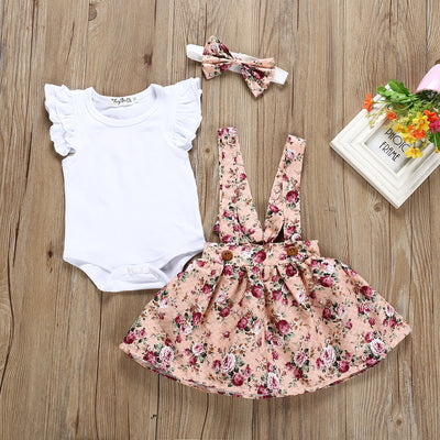 Baby Romper Top+floral strap dress Set - Labellabambino