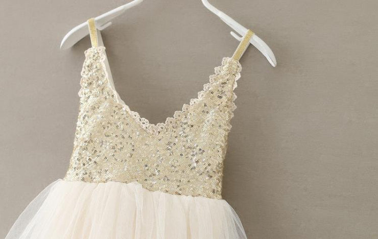 Hot Sale V-Neck Lace Sequin Straps Tutu - Labellabambino