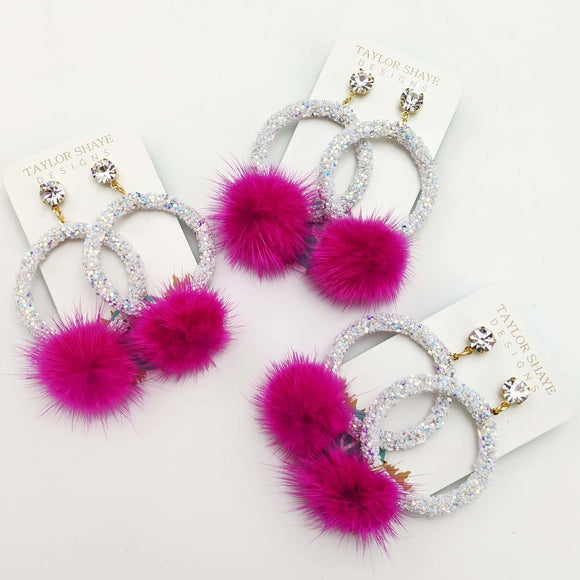 Hot Pink Pom Earrings