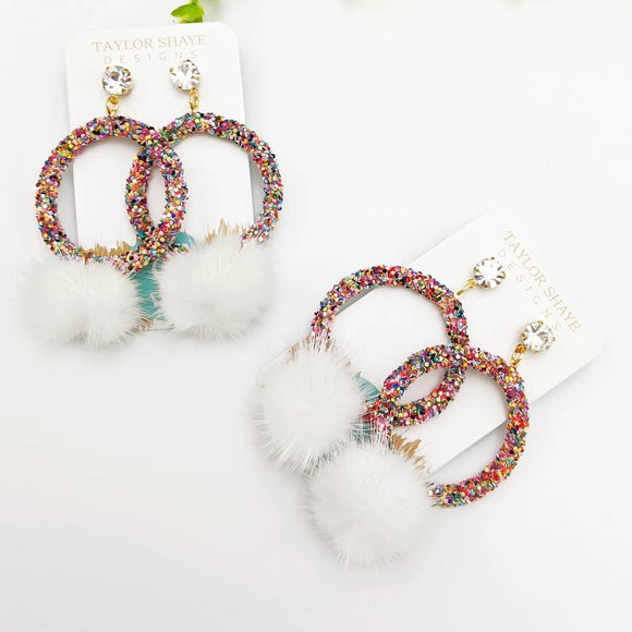 Rainbow Pom Earrings