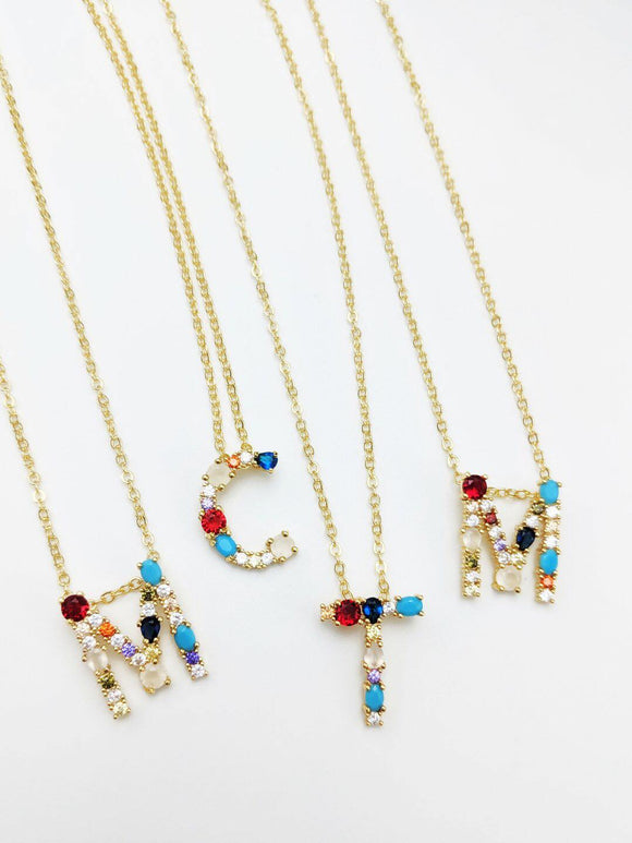 Rainbow Dainty Initial Necklaces
