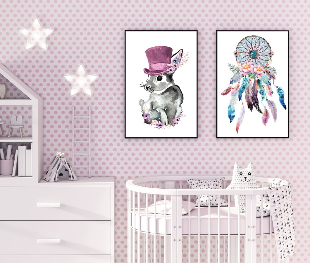 Top hat Bunny Pink Print